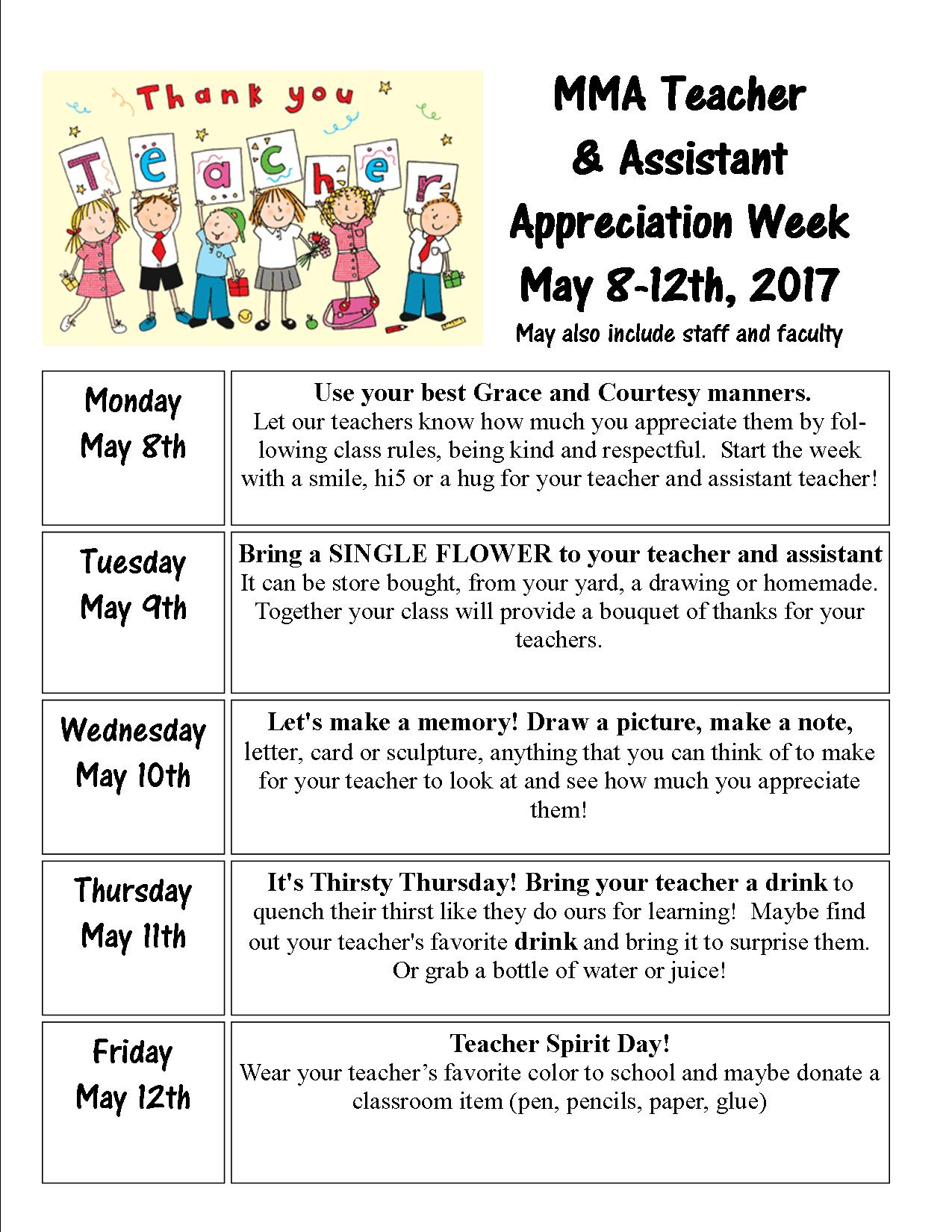 Teacher Appreciation Week 2018